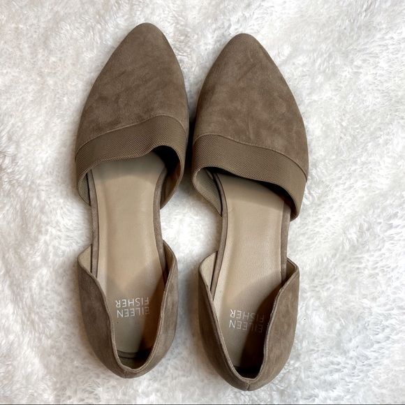 Eileen Fisher Fluted Pointed Toe Suede Flat 8.5